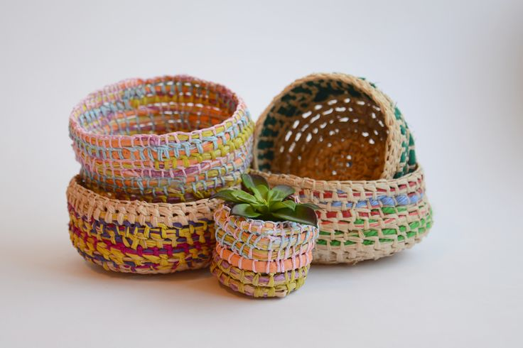 maker:  Vicki Fowler product:woven baskets  material:fabric and raffia handmade in Melbourne