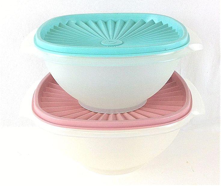 Set Of 2 Vintage Tupperware Servalier Bowls Sheer Bottoms