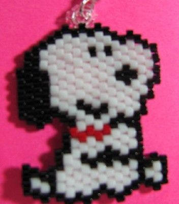 Hand Beaded Snoopy Dog  dangling earrings