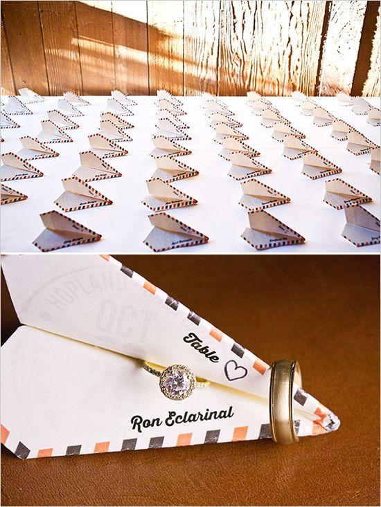 paper airplane escort cards | travel inspired wedding | rustic details | #weddingchicks