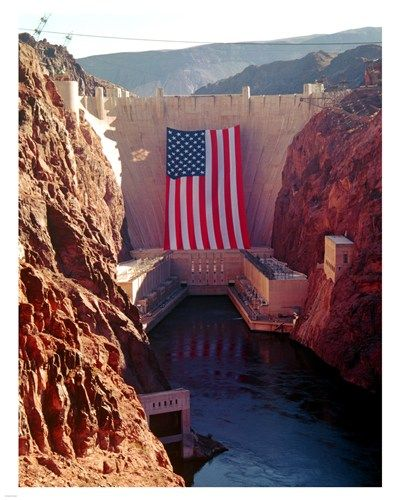 Hoover Dam with large American flag