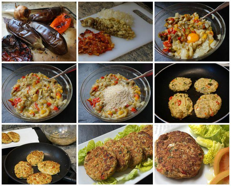 Preparación paso a paso de las hamburguesas de berenjena Ingredientes  1 berenjena grande  1 pimiento rojo  1 cebolla mediana  2 huevos  75 g de salvado de avena (o pan rallado)  sal