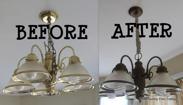 How to Spray Paint your Light Fixtures with #GELighting #cbias @socialfabric - * THE COUNTRY CHIC COTTAGE (DIY, Home Decor, Crafts, Farmhouse)