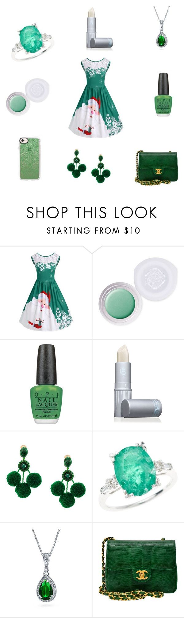 """""""Christmas"""" by katiephan on Polyvore featuring Shiseido, Lipstick Queen, Oscar de la Renta, Bling Jewelry, Chanel, Casetify, Christmas, white, GREEN and expressyourstyle"""