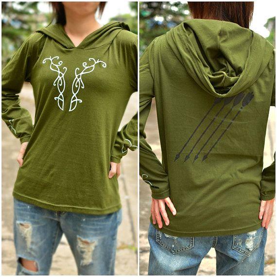 The Hobbit Mirkwood elf Olive green t-shirt hoodie by kusuriurisan