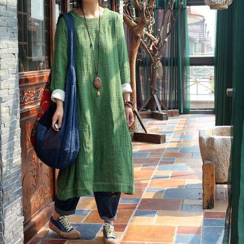 Women 100% linen dress