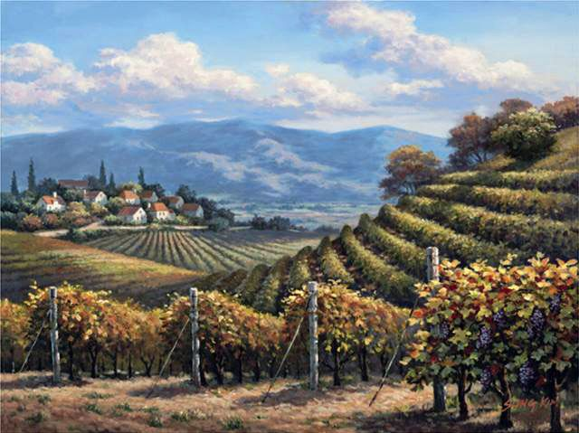 Vineyard Village by Sung Kim ~ Tuscan countryside