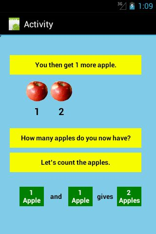 One of the basic exercises in the Addition Level 1 App  Link to app: https://play.google.com/store/apps/details?id=b4a.additionslevel1F   Search terms: #addition; #apps; #android; #education; #school; #teach; #learn; #tutor; #Australia; #Math; #Mathematics; #Arithmetic;