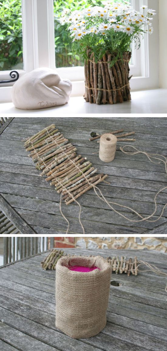 Twig Flower Pots | Click Pic for 24 DIY Spring Wedding Ideas on a Budget | DIY Spring Wedding Decorations on a Budget