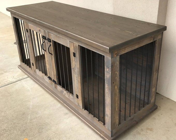 Wooden Double Dog Kennel Diy Plans Medium Size Etsy Diy Dog