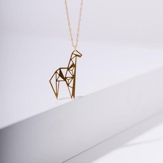 #MIZYAN's #geometric #giraffe #necklace, #origami #giraffe #necklace, #geometric #accessories
