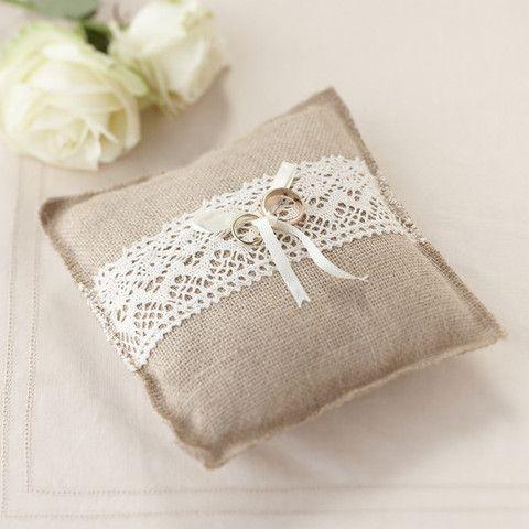 'A Vintage Affair' Hession Burlap Wedding Ring Cushion - Cadeaux.ie #weddingideas #weddingplanning #wedding