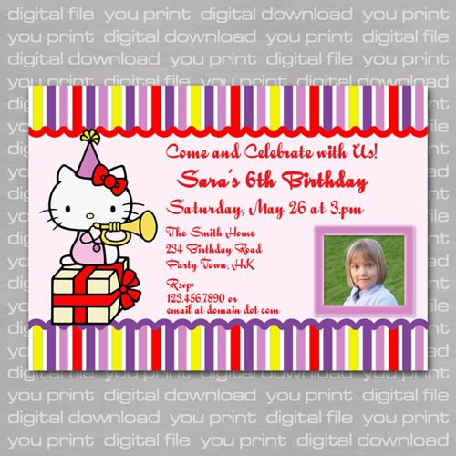 Cele mai bune 25 de idei despre hello kitty invitation card pe this listing is a premade birthday invitation card with an image of hello kitty sitting on a giftbox stopboris Image collections