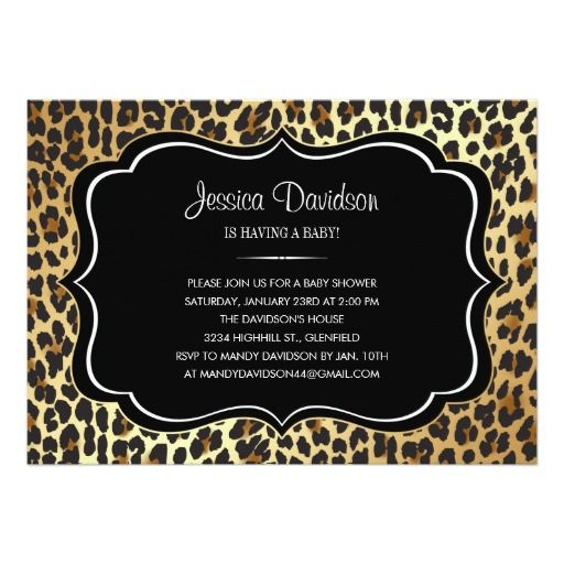 safari animal print leopard baby shower invitation