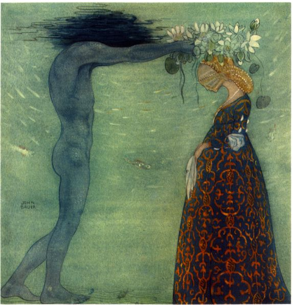 """072 - Sjökungen och hans Drottning. """"Agneta och Sjökungen""""  av Helena Nyblom. Från """"Bland Tomtar och Troll"""" 1910"""