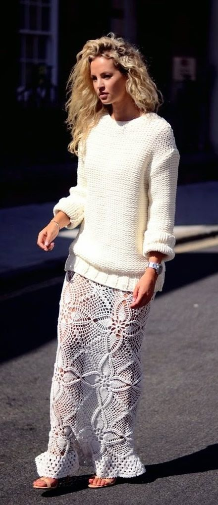 All White knit sweater, crochet skirt. women fashion outfit clothing style apparel @roressclothes closet ideas