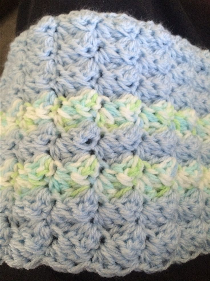 Close-up of the baby boy blanket.