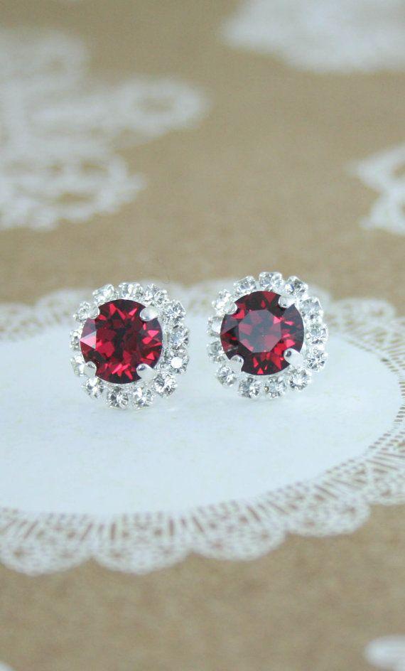 Ruby red earrings | red crystal earrings | Swarovski ruby crystal halo stud earrings | red wedding | red jewelry  red earrings | ruby earrings | www.endorajewellery.etsy.com