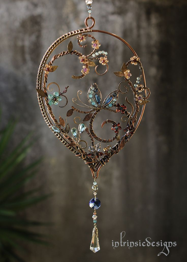 Butterfly Blues ...Suncatcher with Gemstones, Swarovski Crystal and mixed metals =)