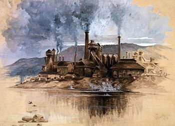 'Bethlehem Steel Works,' a watercolor by Joseph Pennell in May 1881, depicting Bethlehem Iron Company, America's second-largest steel producer and largest shipbuilder of the 19th century; Wikipedia