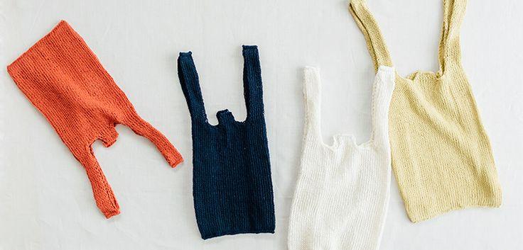 メリヤス編みのレジ袋 | 編み物キット販売・編み方ワークショップ|イトコバコ