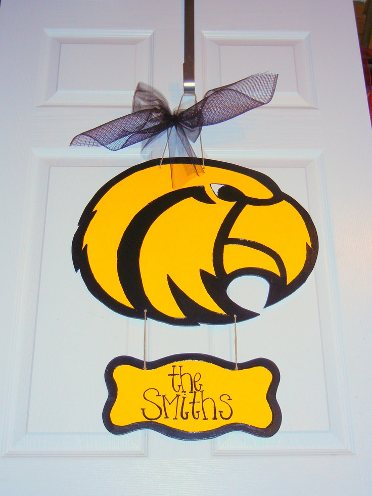 Southern Miss Eagle w/ Hanging Sign - $25    Door Decor & Gifts by Southern by Design - Shop at www.facebook.com/Southern by Design or www.SouthernbyDesignCo.etsy.com.