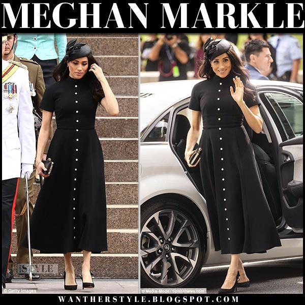Meghan Markle In Black Button Down Midi Dress With Black Hat And Black Pumps Royalfamily Duchessofsuss Meghan Markle Outfits Meghan Markle Style Black Button