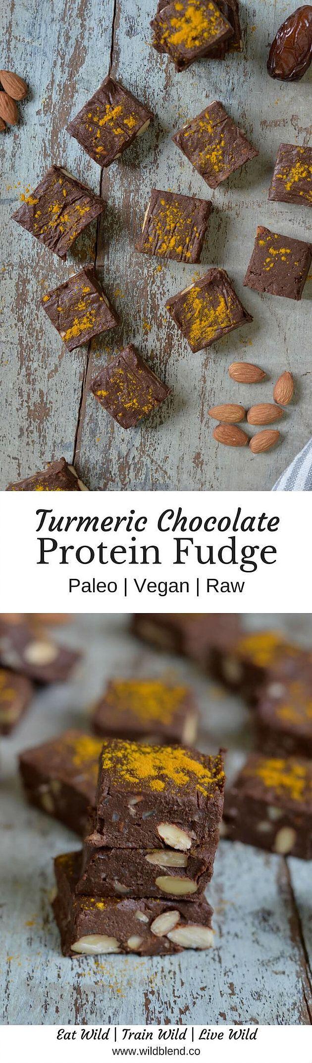 Turmeric Chocolate Protein Fudge   full recipe via http://wildblend.co   Paleo - Vegan - Grain Free - Dairy Free