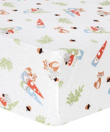 Look at this #zulilyfind! Red & Blue Forest Gnomes Flannel Fitted Crib Sheet #zulilyfinds