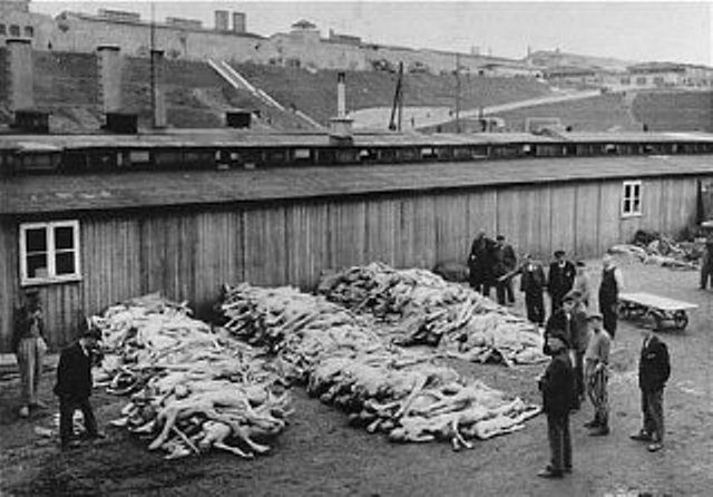 The corpses are piled at Mauthausen Concentration Camp (May 1945)