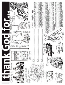 This Thanksgiving coloring sheet emphasizes what children can, and should be, thankful to God for.*PLEASE NOTE: This product contains a Christi...