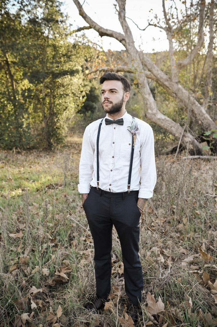 groom style - suspenders and bowtie