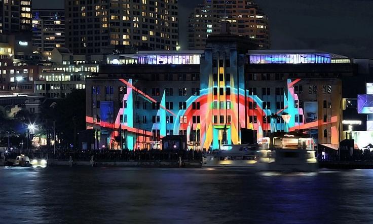 Vivid Sydney  by Hayley Islip, Moving wall of Modern Art  http://www.purplelux.com/vivid-sydney/
