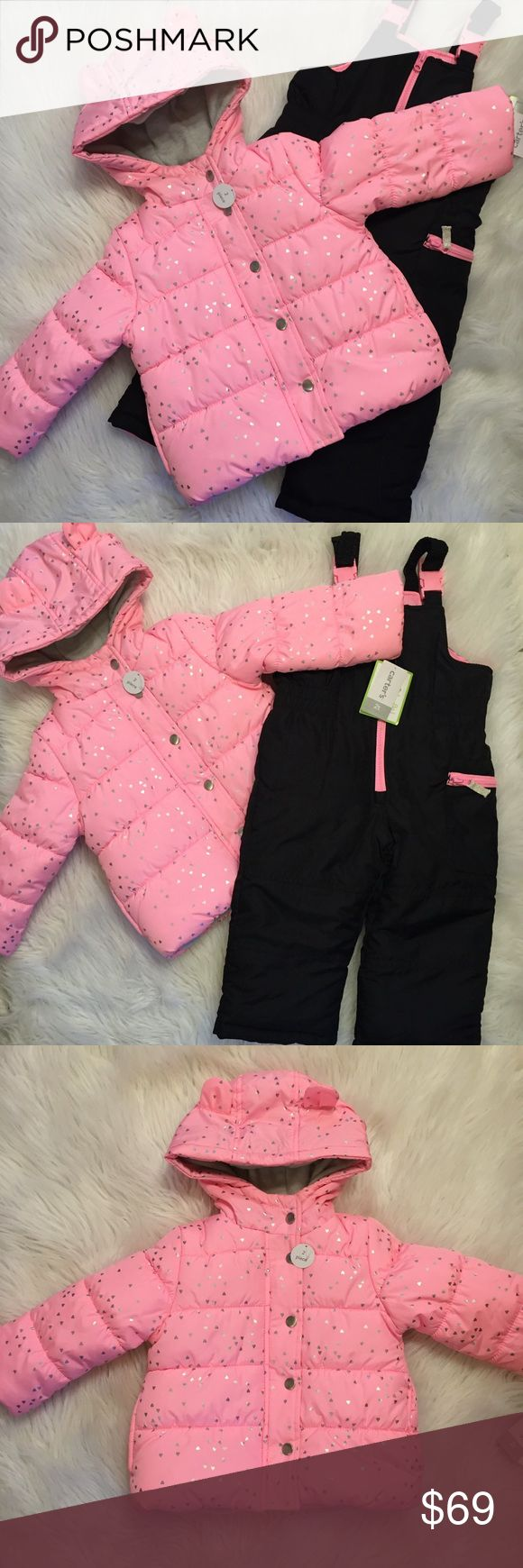 Adorable toddler Snow suit set Pink jacket covered in shiny little hearts, black and pink bib snow suit. Insulated and lined, fleece lined hood with cute ears, zip front, elastic clasp straps, soft poly fill, water resistant, machine washable. Brand new with tags Carter's Jackets & Coats #SuitSets