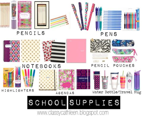 Preppy Back to School: Supplies {To see the full post go to www.classycathleen.blogspot.com}