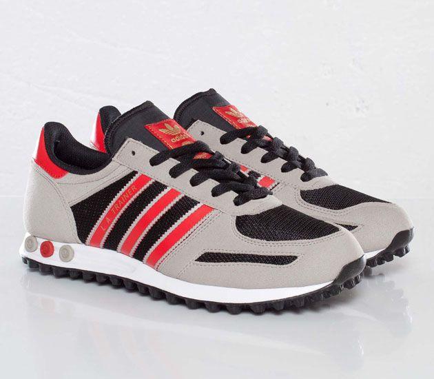 adidas Originals LA Trainer - Black / Vivid Red - Collegiate Silver