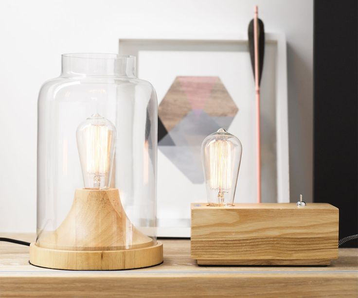 Beacon Lighting - Liam 1 light table lamp in Ash wood with clear jar shaped glass