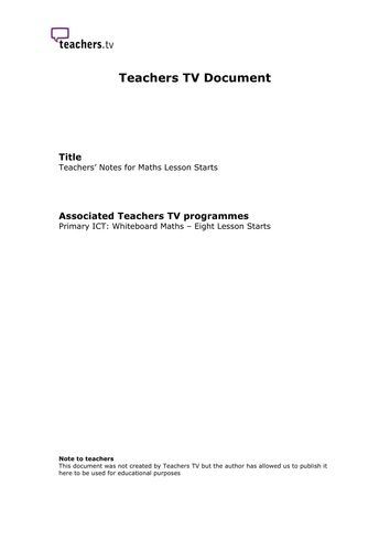 Teachers TV: Division, Volume and Other Topics