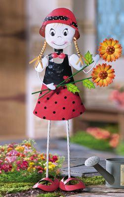 Ladybug Girl W/ Sunflowers Outdoor Metal Garden Stake