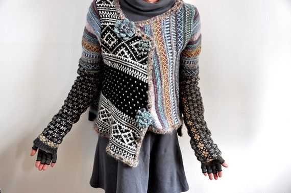 I love the combination of sweaters in this garment!