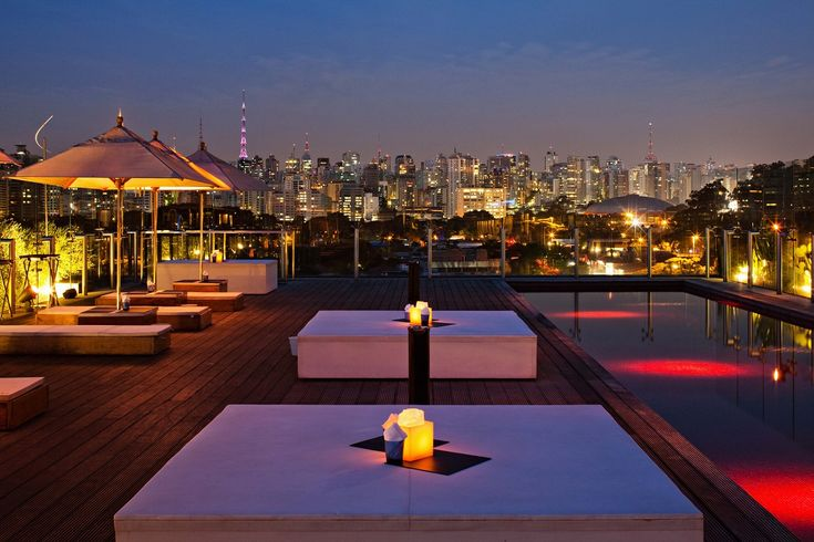 Skye Bar, Sao Paulo The heart and soul of Sao Paulo's Hotel Unique, Skye Bar & Restaurant is a fantastic rooftop oasis with an ultra-comfy lounge area and dramatic city views. The highlight, however, is the spectacular crimson red pool equipped with underwater sound system.