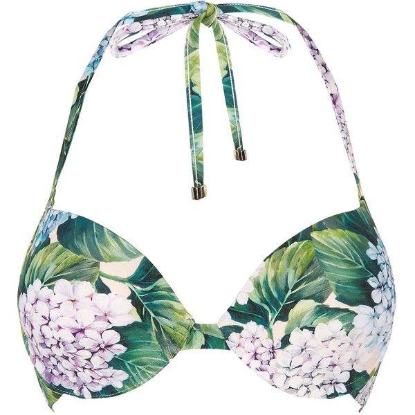 Dolce & Gabbana Garden Print Push Up Bikini Top (€290) ❤ liked on Polyvore featuring swimwear, bikinis, bikini tops, underwire tankini tops, halter tops, halter tankini tops, underwire bikini tops and swimsuit tops