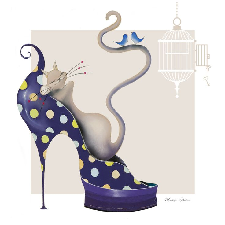 From the #Catitudes portfolio this is Dizzy the #cat.illustrator #marilynrobertson recently featured on cosmetic handbag accessories.by#Marandati