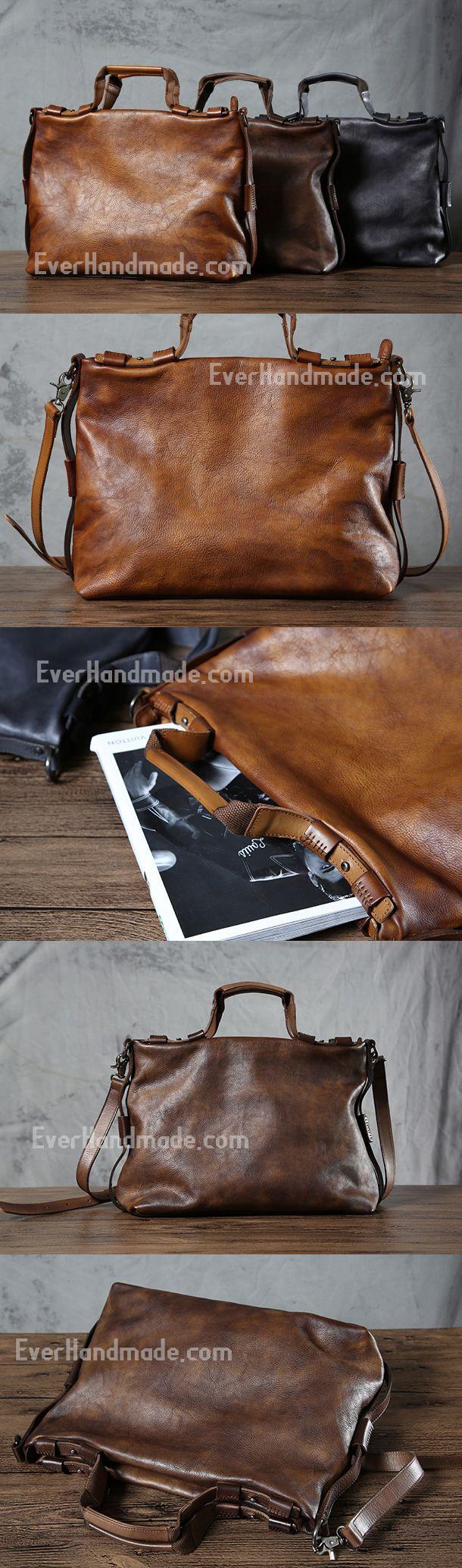 Handmade leather men Briefcase bag messenger large vintage shoulder