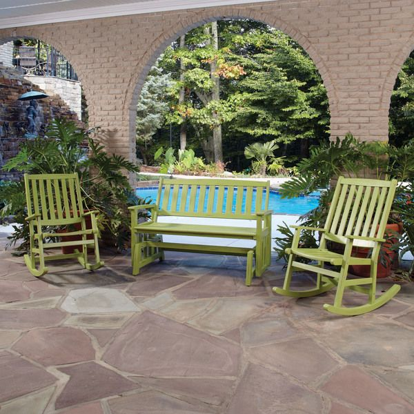 Bali Hai Outdoor Glider Bench and Two Rocking Chairs | Overstock.com Shopping - Big Discounts on Sofas, Chairs  Sectionals