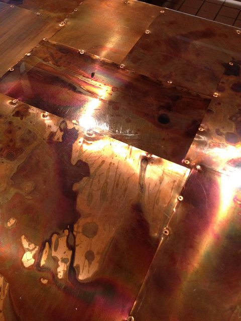 I love this handmade copper bar top.