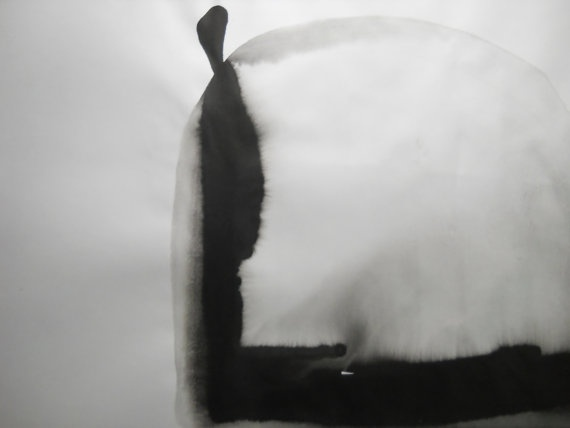 Original Modern Black and White Abstract Ink Wash by Manjuzaka, €40.00