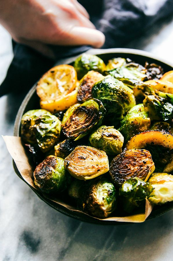 Lemon Basil Roasted Brussels Sprouts