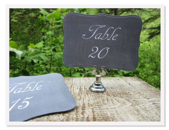 12  Chalkboard Table Numbers, Wedding Table Cards- Printed Cardstock op Etsy, 5,38€