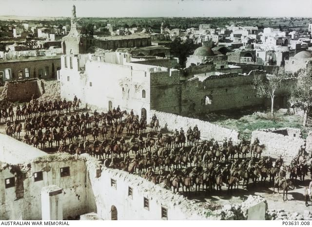 Squadrons of the 4th Australian Light Horse Brigade in formation on horseback at Gaza, February 1918 #WW1